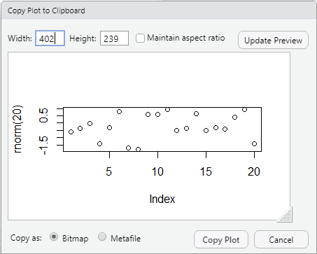 Copy plot to Clipboard in RStudio