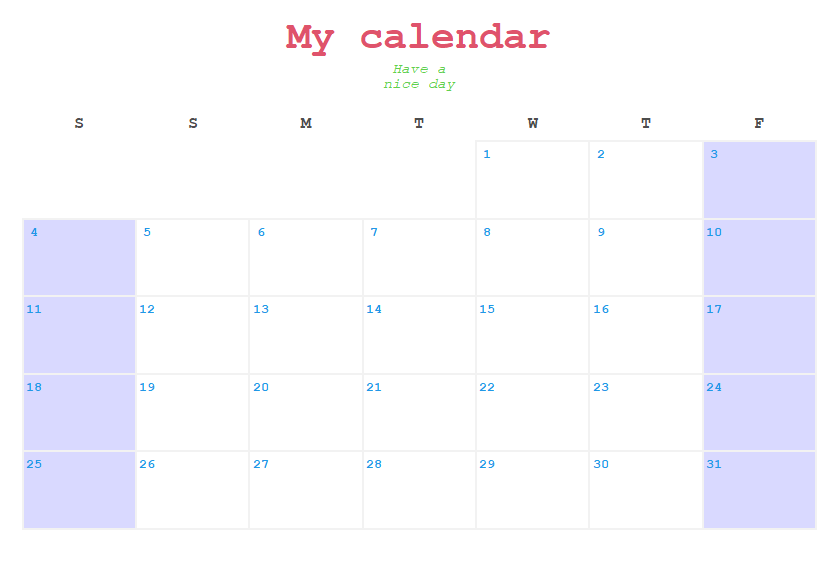 Customized calendar plot in R