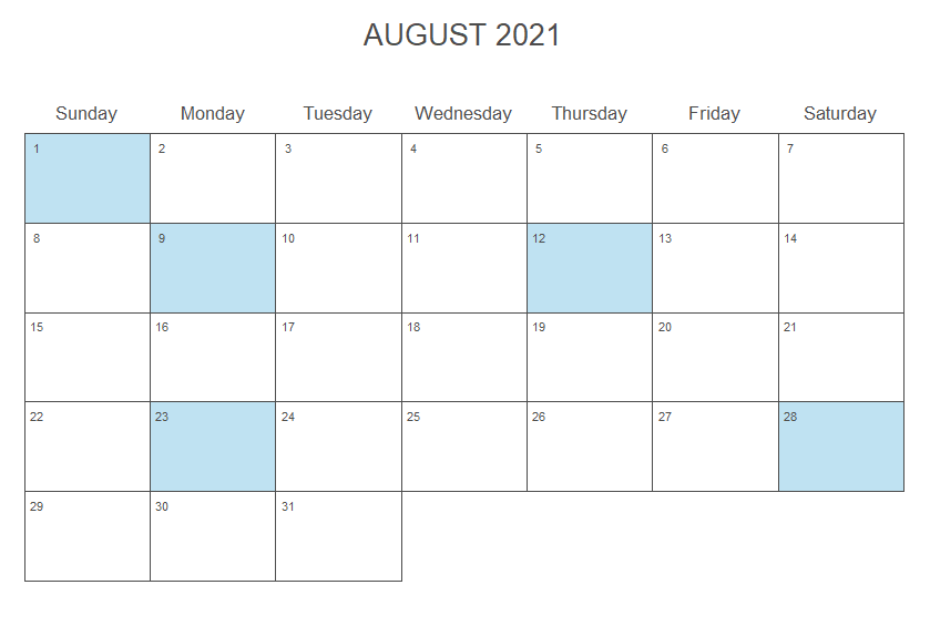 Add color to the days of a calendar plot in R