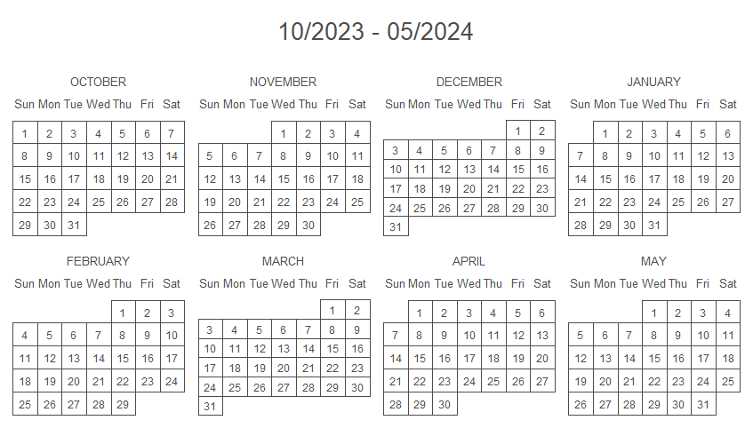 Calendar with custom start and end dates in R