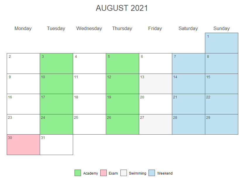 ggplot2 monthly calendar with several events